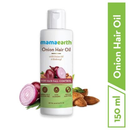 Picture of Mamaearth Onion Hair Oil for Hair Regrowth & Hair Fall Control with Redensyl, 150ml