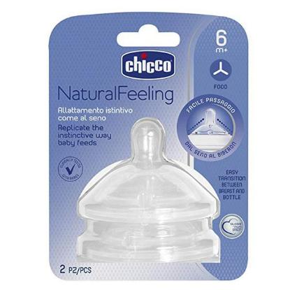 Picture of Chicco 2 Teat Natural Feeling 6M+ F Food