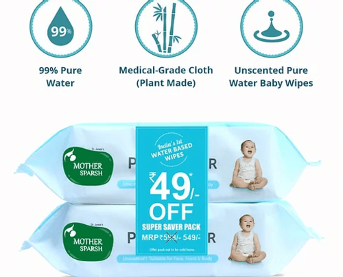 Picture of Mother Sparsh 99% Water Wipes COMBO (72 Unscented Baby Wipes x2)