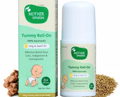 Picture of Mother Sparsh Tummy Roll On for Baby, Colic Relief and Digestion, 100% Ayurvedic, Hing & Saunf