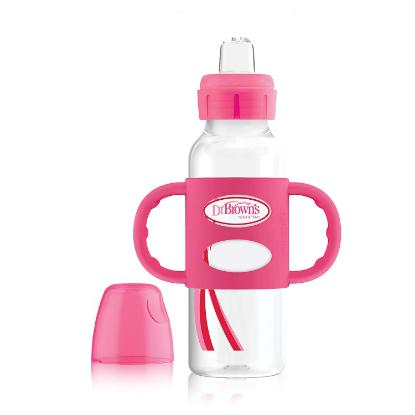 Picture of Dr. Brown's 8 oz / 250 ml PP N Sippy Spout Bottle w/ Silicone Handles, Pink, Single