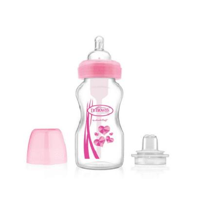 "Picture of Dr. Brown's 9 oz / 270 ml PP Wide-Neck ""Options"" Transition Bottle w/ Sippy Spout - Pink, 1-Pack"