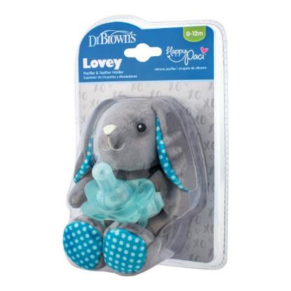 Picture of Dr. Brown's Bunny Lovey with Blue One-Piece Pacifier