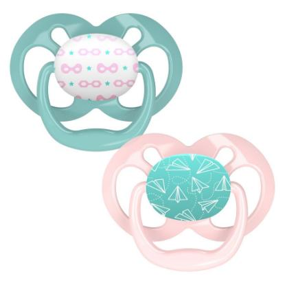 Picture of Dr. Brown's Advantage Pacifiers, Stage 1, Pink Stars, 2 pack