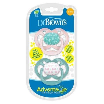 Picture of Dr. Brown's Advantage Pacifiers, Stage 2, Pink Airplanes, 2 pack