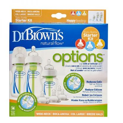 "Picture of Dr. Brown's PP Wide-Neck ""Options"" Baby Bottle Starter Kit (2x 9 oz/270 ml bottles, 1x 5 oz/150 ml bottles, 2x L2 Nipples, 2x L3 Nipples, 2x Cleaning Brushes)"