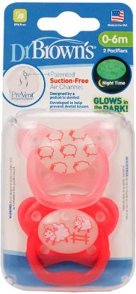 Picture of Dr. Brown's PreVent Glow in the Dark BUTTERFLY SHIELD Pacifier - Stage 1 * 0-6M - Assorted, 2-Pack