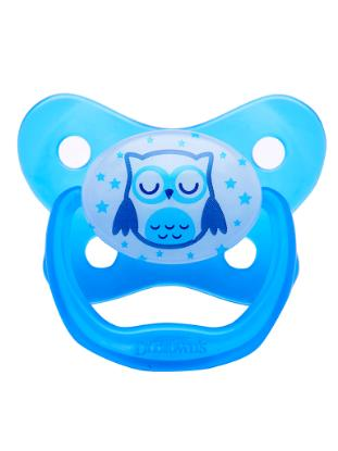 Picture of Dr. Brown's PreVent Glow in the Dark BUTTERFLY SHIELD Pacifier - Stage 3 * 12M+ - Blue (Sleepy Owl)