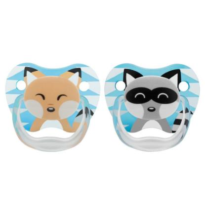 Picture of Dr. Brown's PreVent Printed Shield Pacifier - Stage 1 * 0-6M - Boy Animal Faces (Raccoon & Fox), 2-Pack