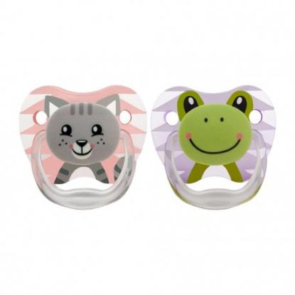 Picture of Dr. Brown's PreVent Printed Shield Pacifier -Stage 1 Girl, 2-pack ANIMAL FACES