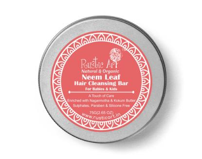 Picture of Rustic Art Neem Leaf Hair Cleansing Bar (Shampoo Bar) For Babies & Kids 75g