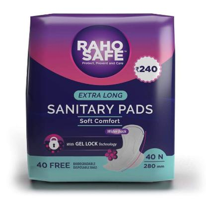 Picture of Raho Safe Sanitary Pad Extra Long with Biodegradable Disposable Bags (40 Pads Count)