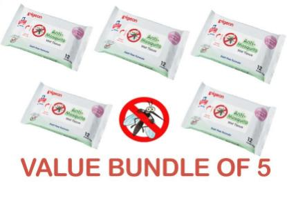 Picture of Pigeon Anti-Mosquito Wet Wipes - Pack of 5