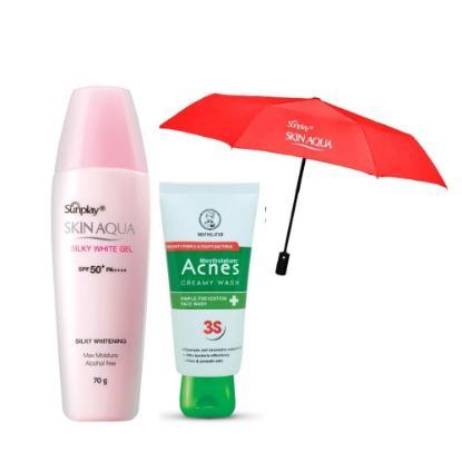 Picture of Sunplay Skin Aqua Silky White Gel 70gm + Acnes Creamy Wash 50gm Combo