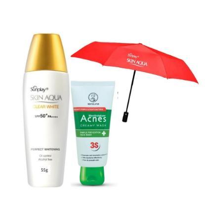 Picture of Sunplay Skin Aqua Clear White 55gm + Acnes Creamy Wash 50gm Combo